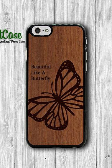 Wood Butterfly Engrave iPhone 6 Cases Dark Vintage Wooden Animal iPhone 5S, iPhone 5C, iPhone 4S, Brown Black Phone Case Mobile Accessories#1-83