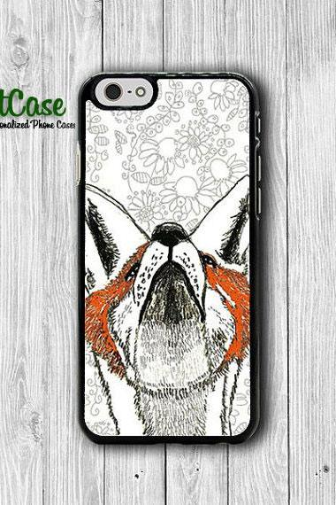 Floral Fox Drawing Vintage iPhone 6 Cover, Cute Flower Red Fox iPhone 6 Plus, iPhone 5S, iPhone 4S Hard Case, Rubber Wild Accessories Gift#1-90
